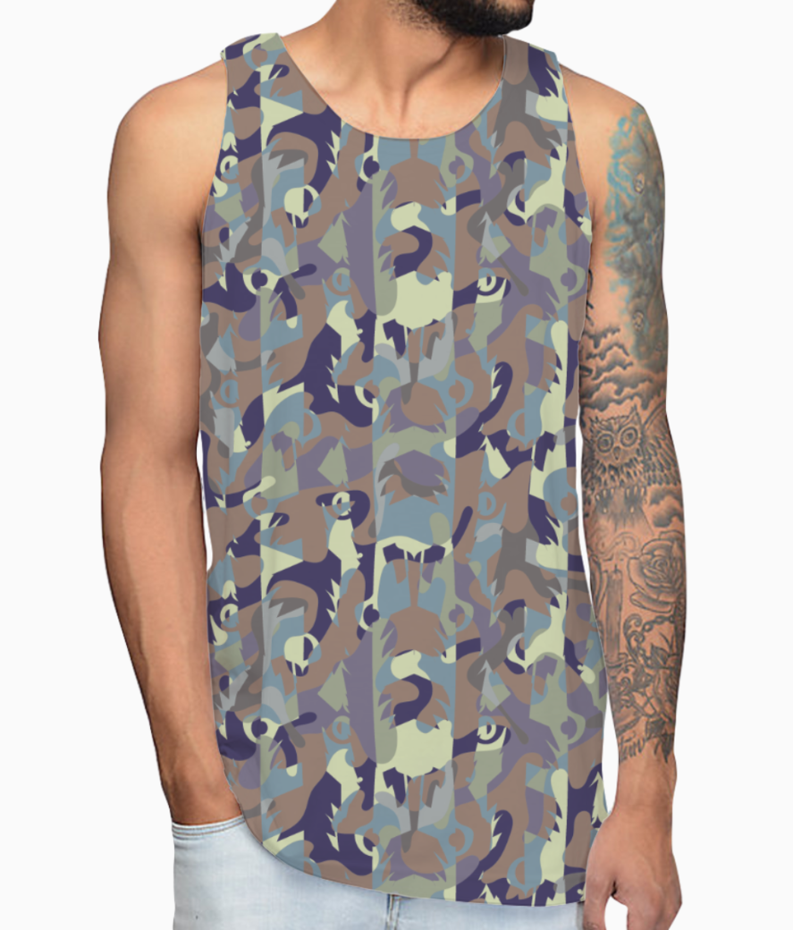 Camouflaged bamboo forest vest front