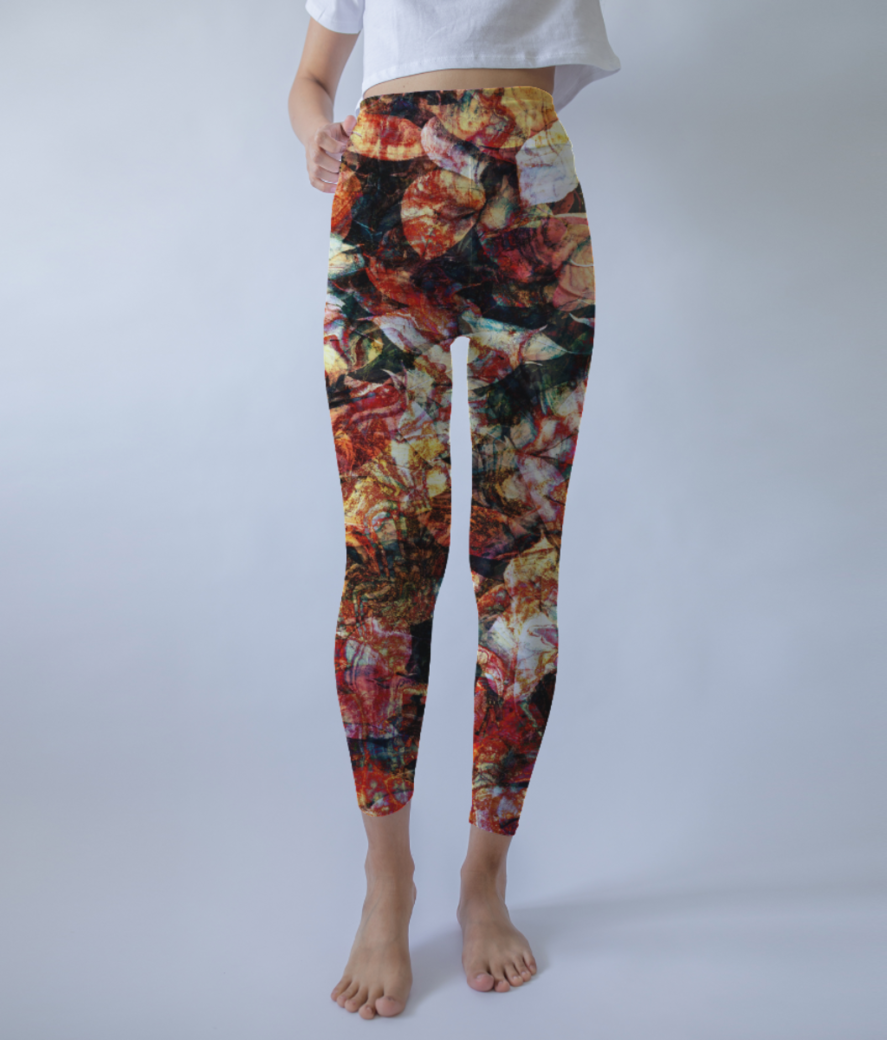 Autumn leaves leggings front