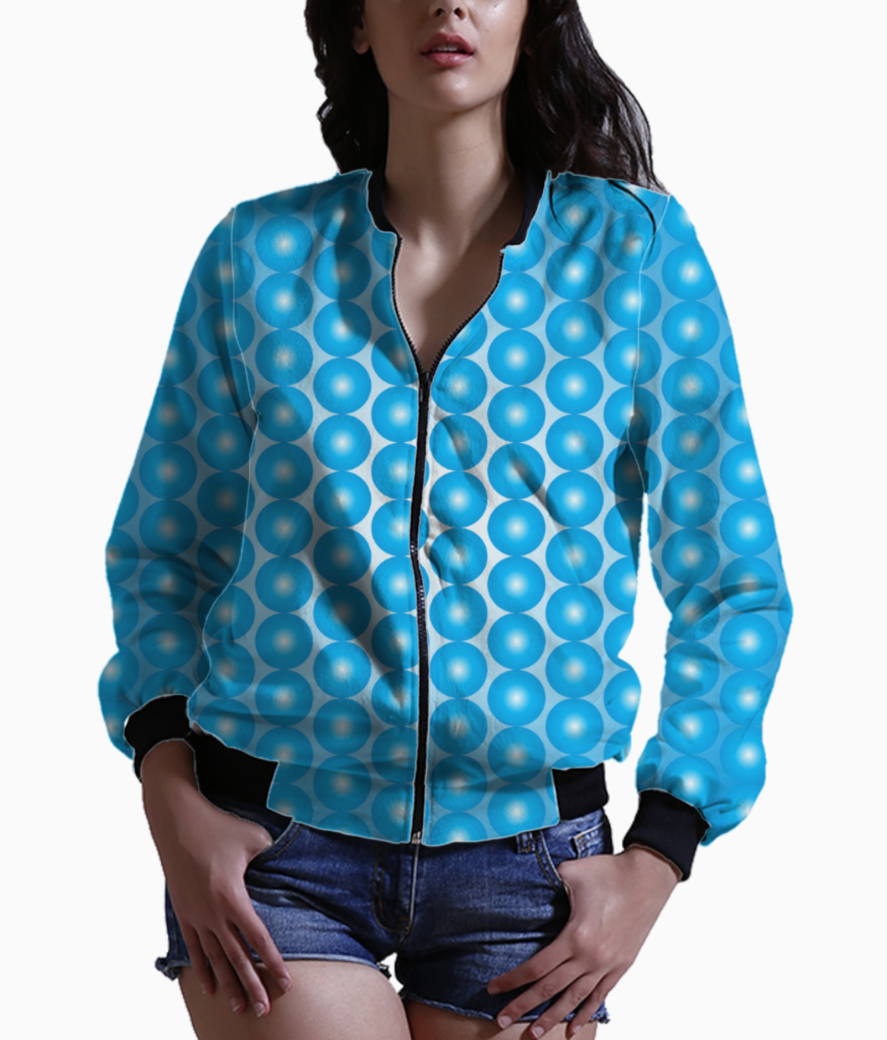 Blue pearl pattern bomber front