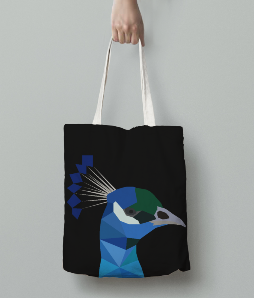 Peacock origami art tote bag back