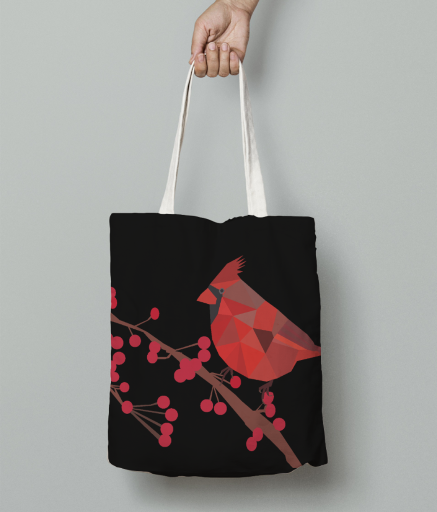 Northern cardinal bird origami art tote bag front