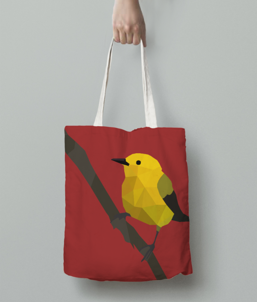Prothonotary warbler origami art tote bag back