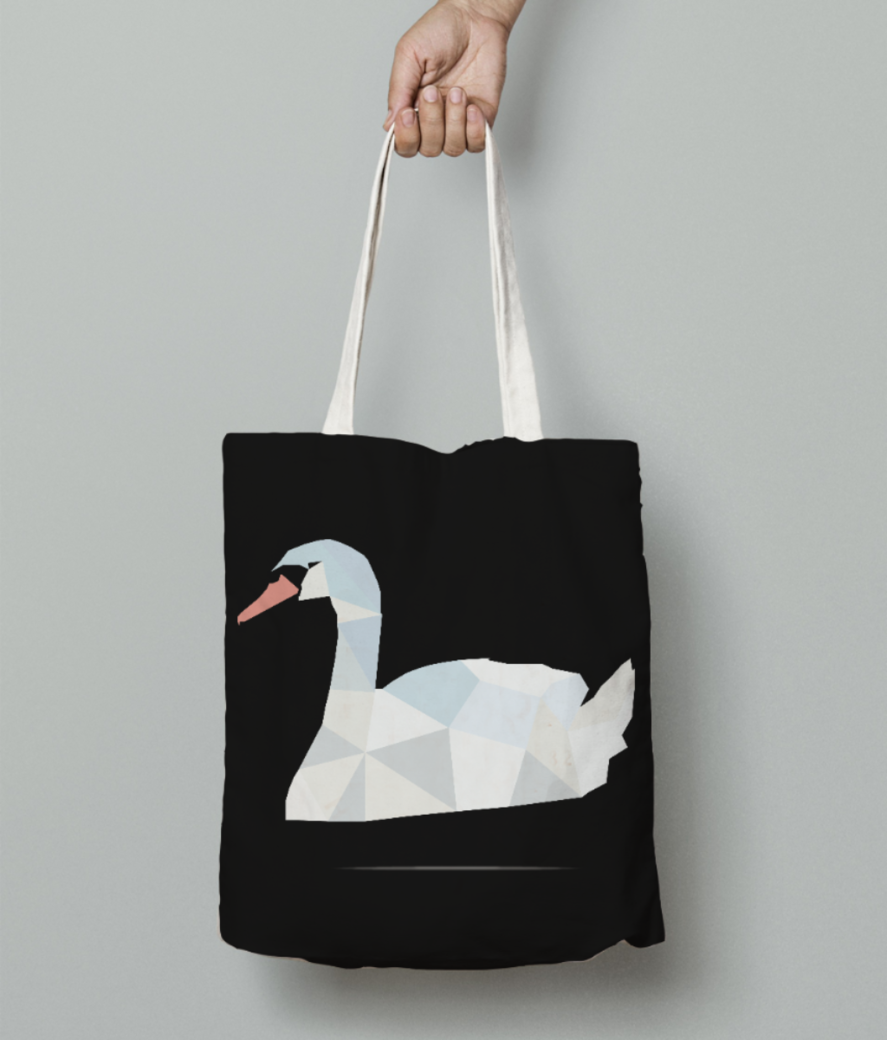 Swan origami art with shadow tote bag front