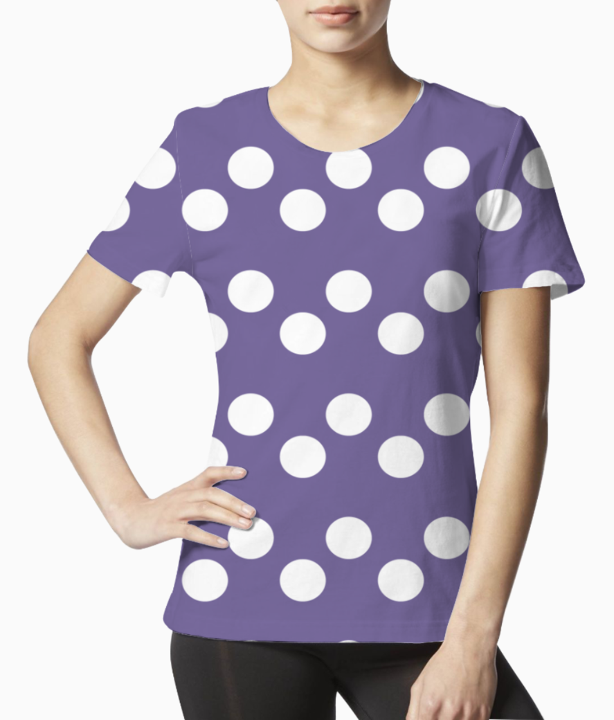Ultra violet polka dots tee front
