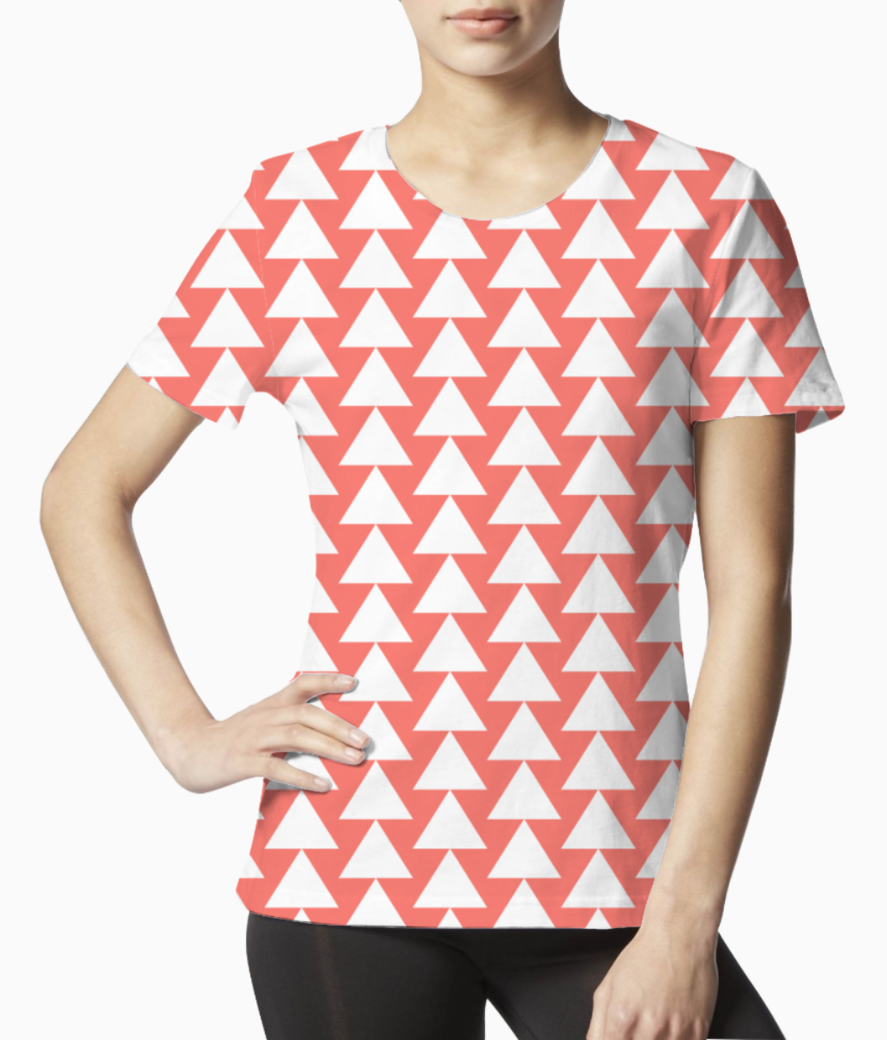 White triangle living coral pattern tee front