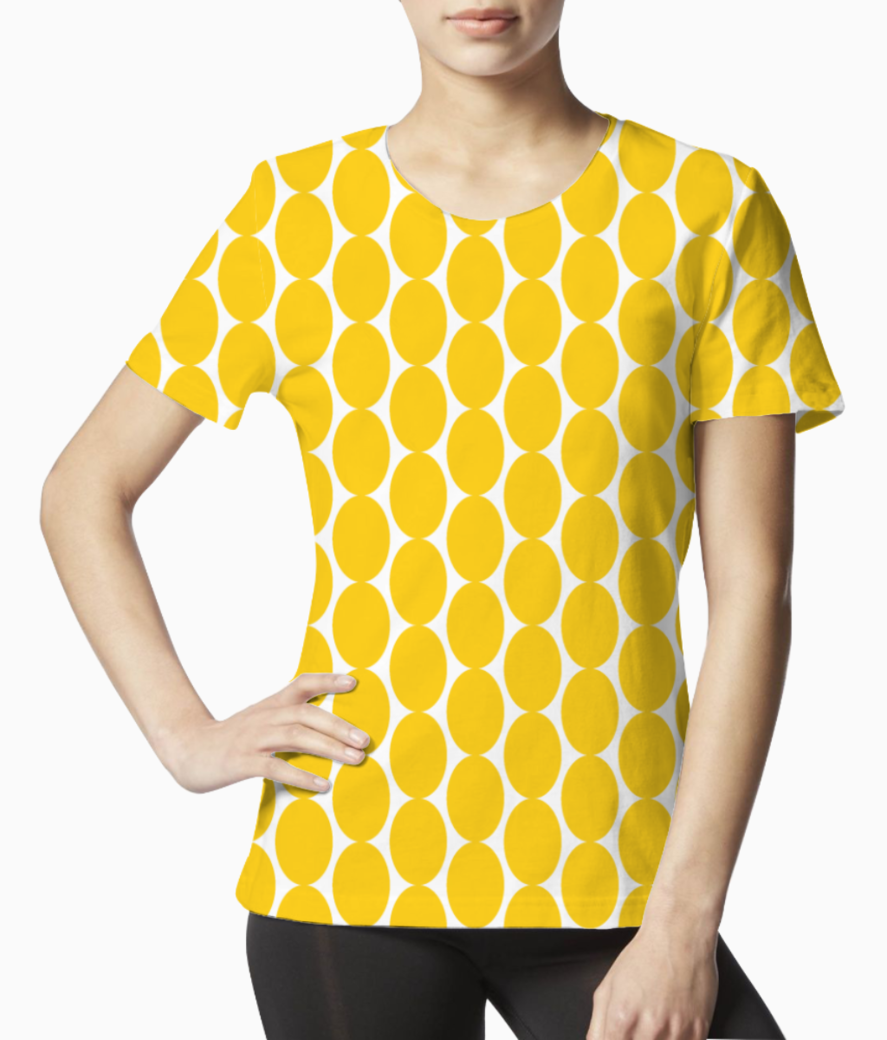 Yellow egg shape pattern tee front