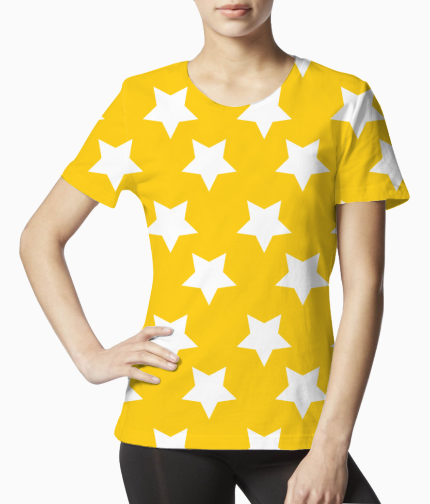 Yellow white stars pattern tee front