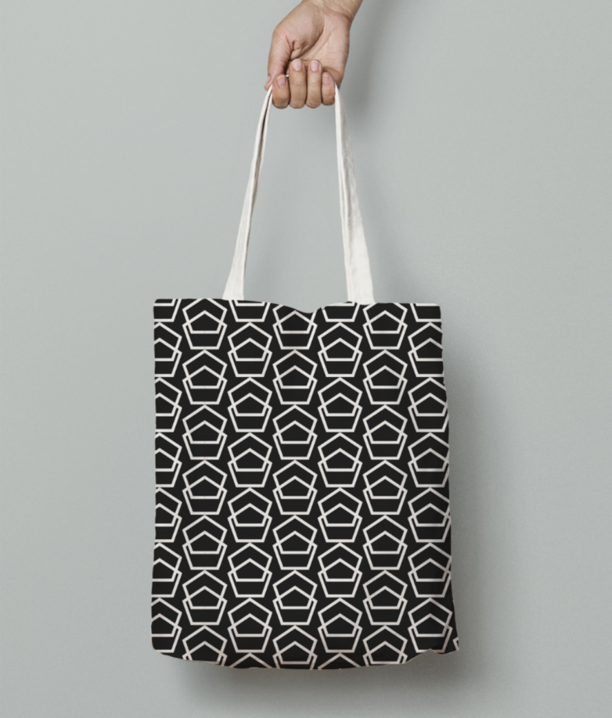 Double hexagon pattern tote bag front