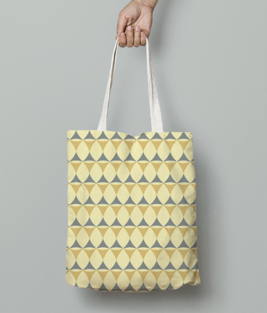 Yellow   grey seamless pattern tote bag front
