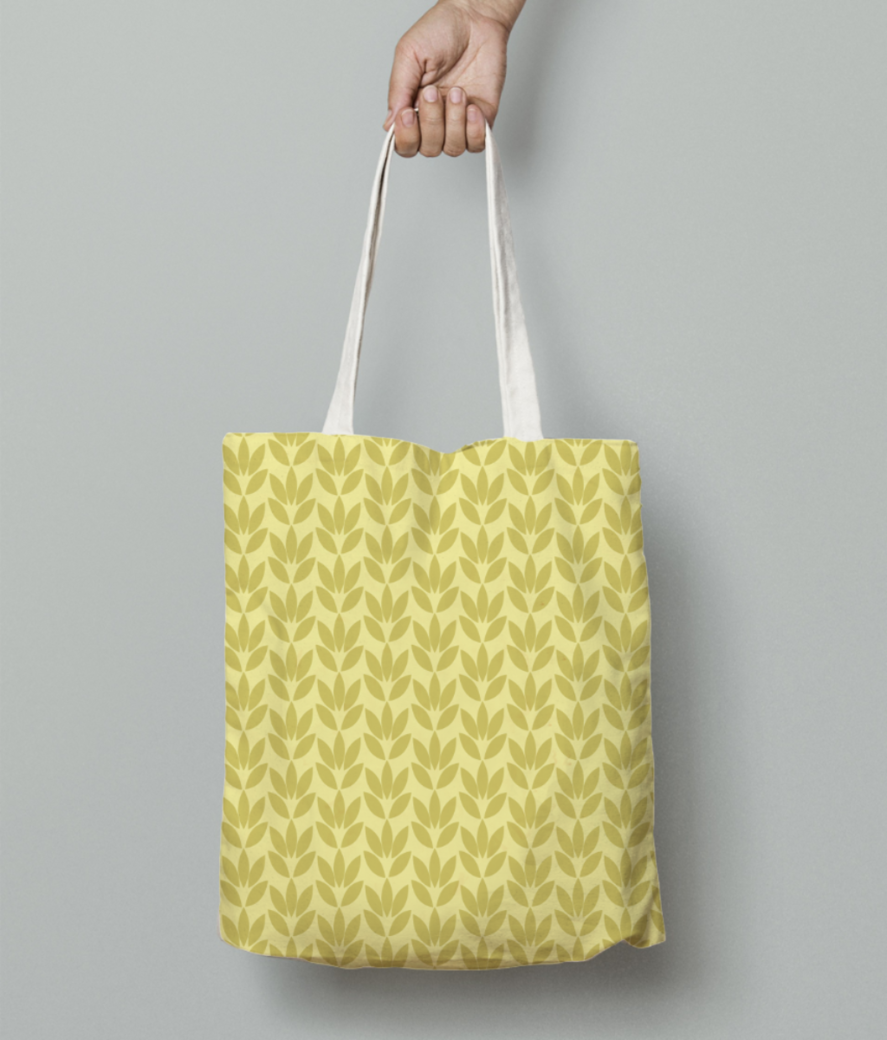 Yellow color flower seamless pattern tote bag front