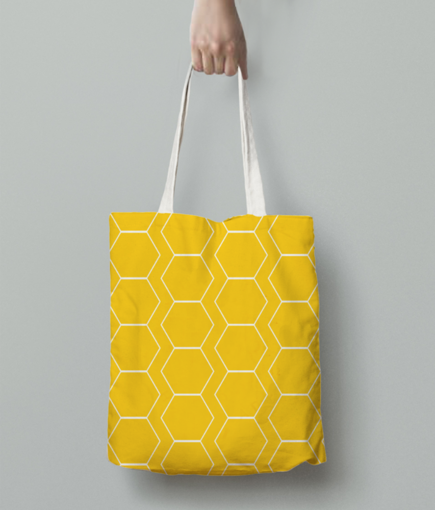 Yellow white hexagon pattern tote bag back