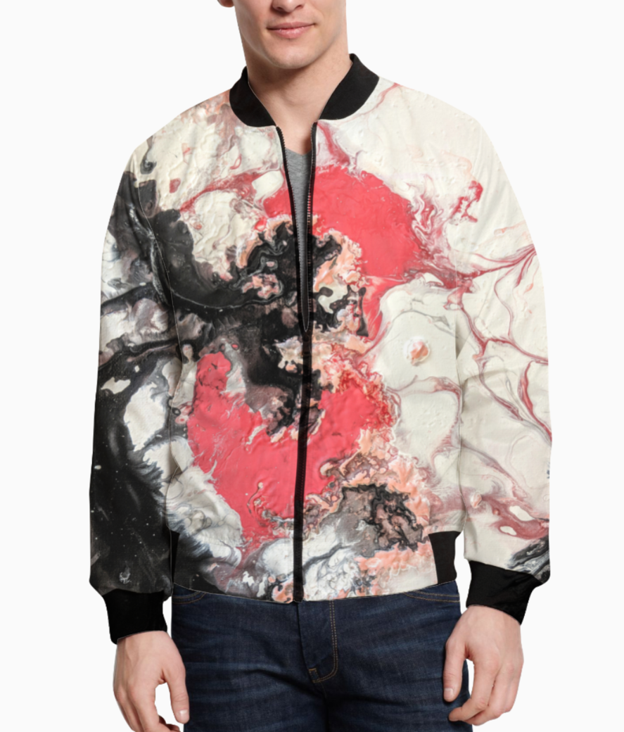 Coral crackle bomber front