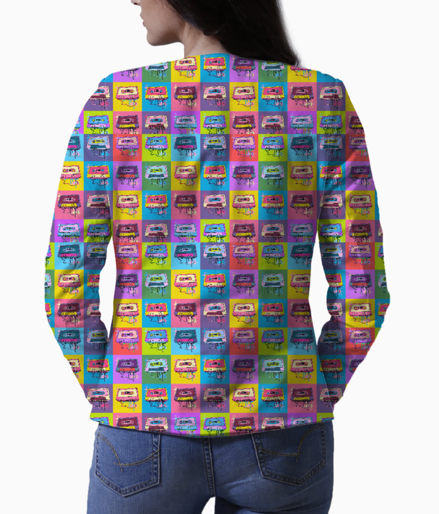 Psychedelic party small print blazer back