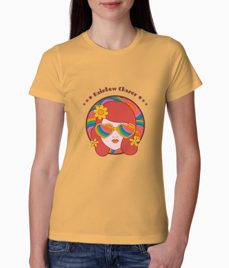 Retro t shirt design maker featuring a woman s face with rainbow glasses 1954i tee front