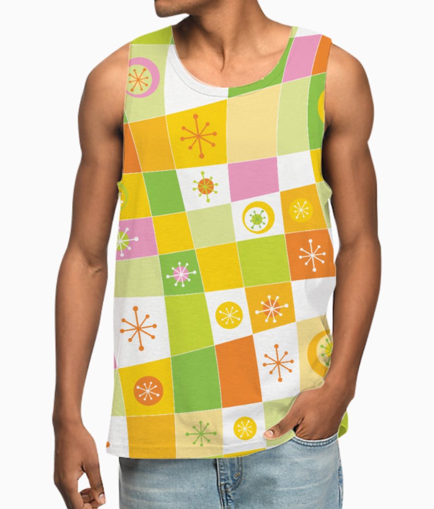 Abstract lines pattern vest front