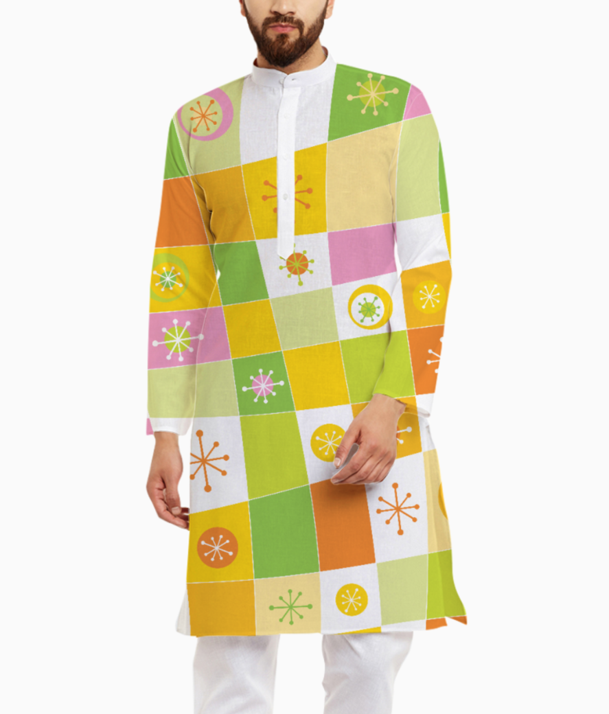 Abstract lines pattern kurta front