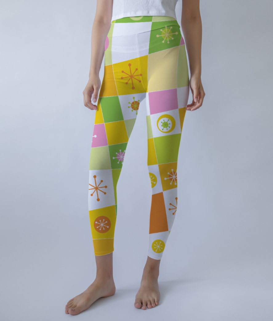 Abstract lines pattern leggings front