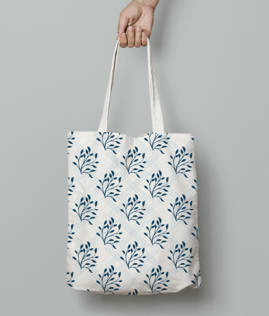 Blue leaf tote bag front