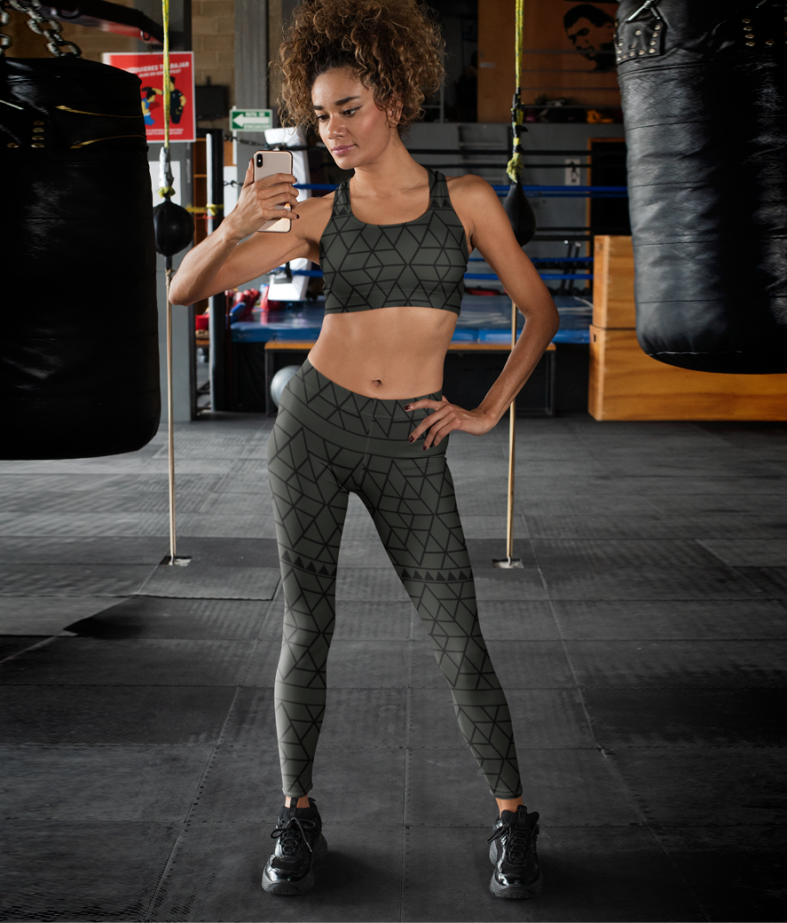 Mockup of a fitness woman wearing a sports bra and leggings 31357