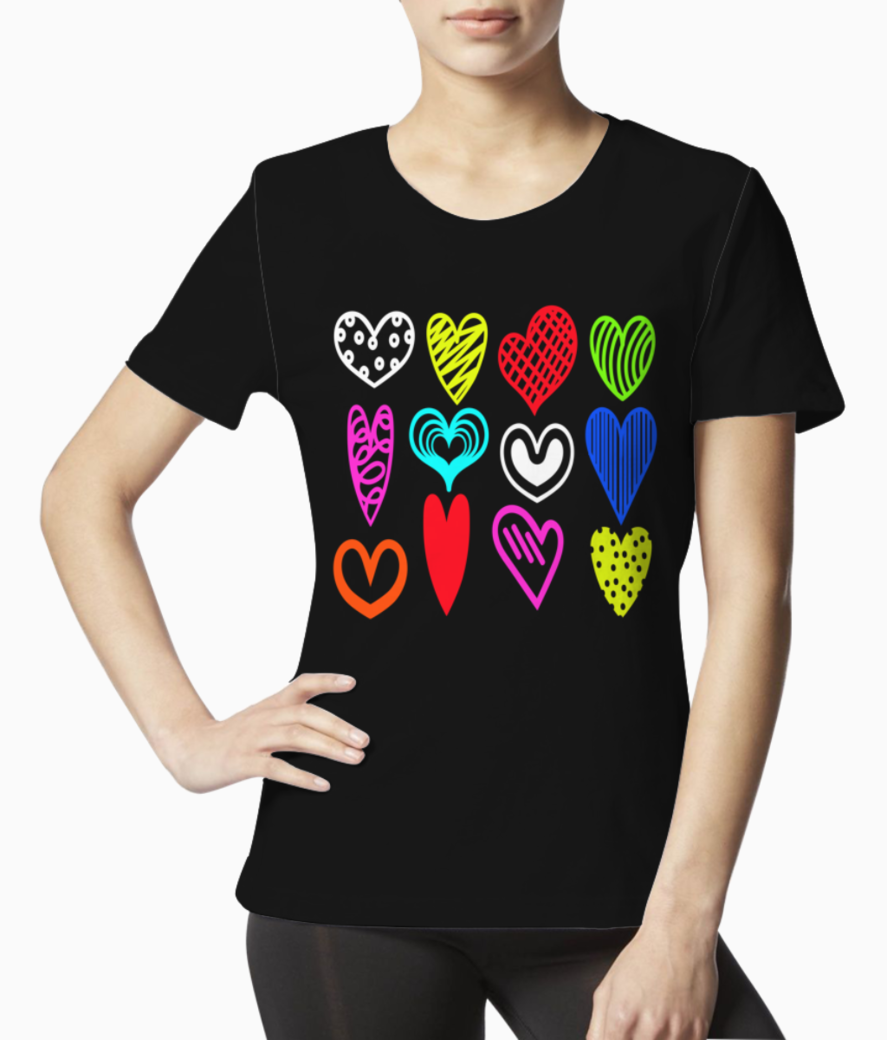 Black love hearts tee front