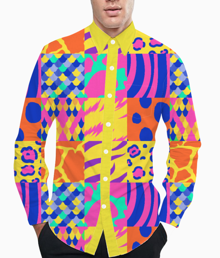 Colourful animal print basic shirt front
