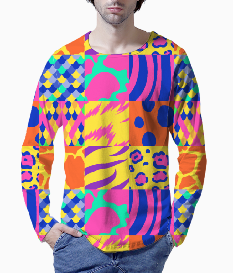 Colourful animal print henley front