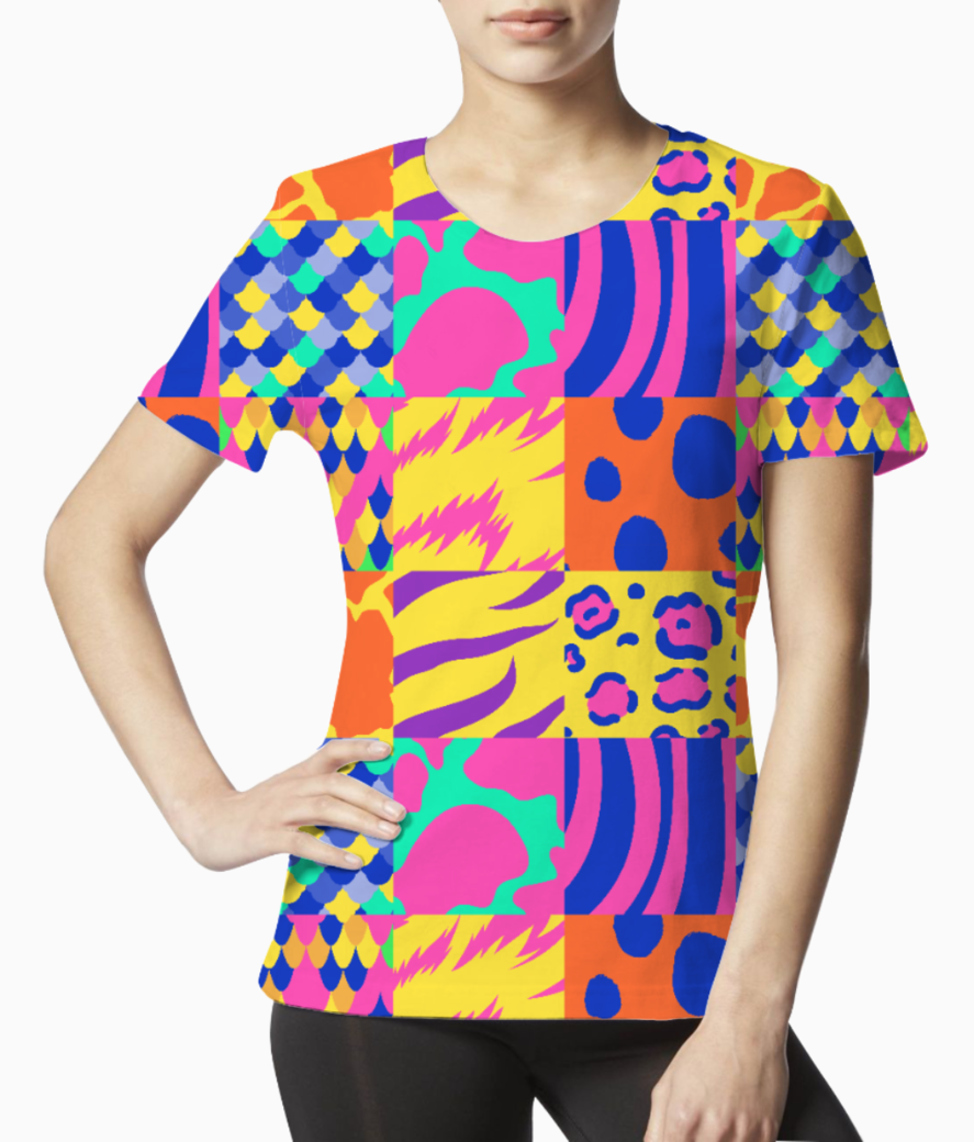 Colourful animal print tee front