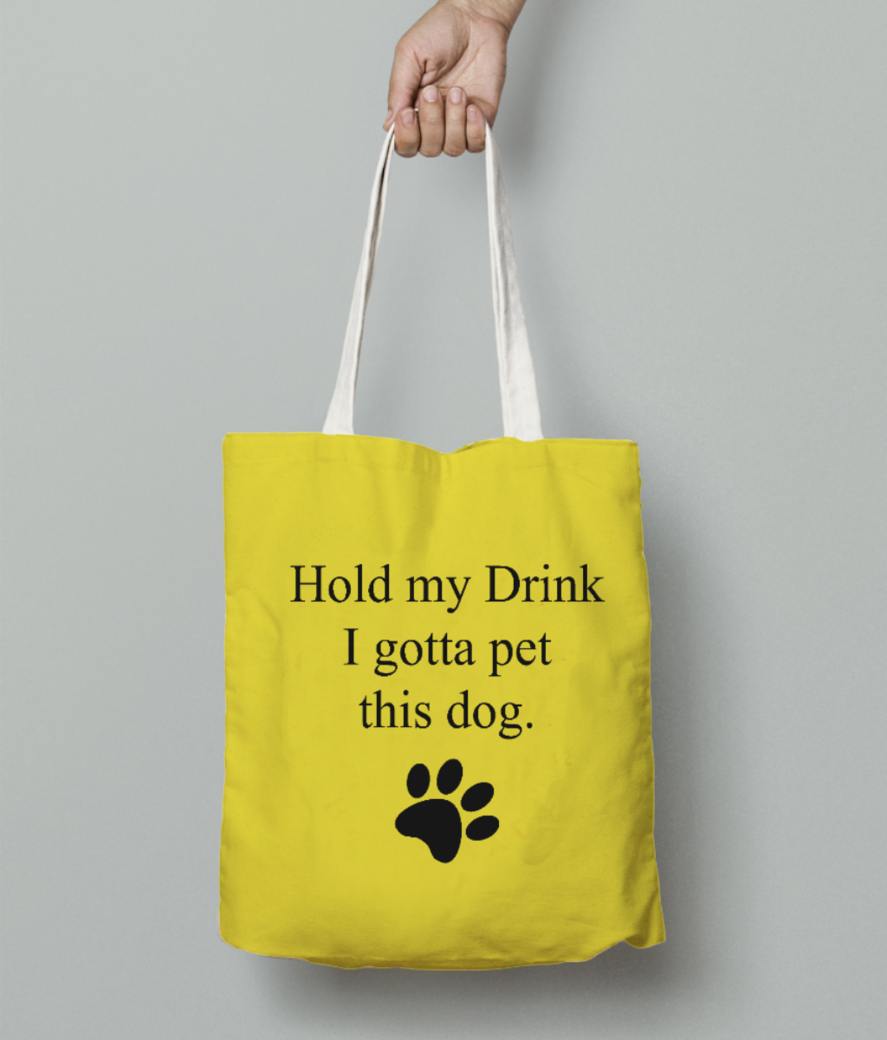 Hold my drink tote bag front