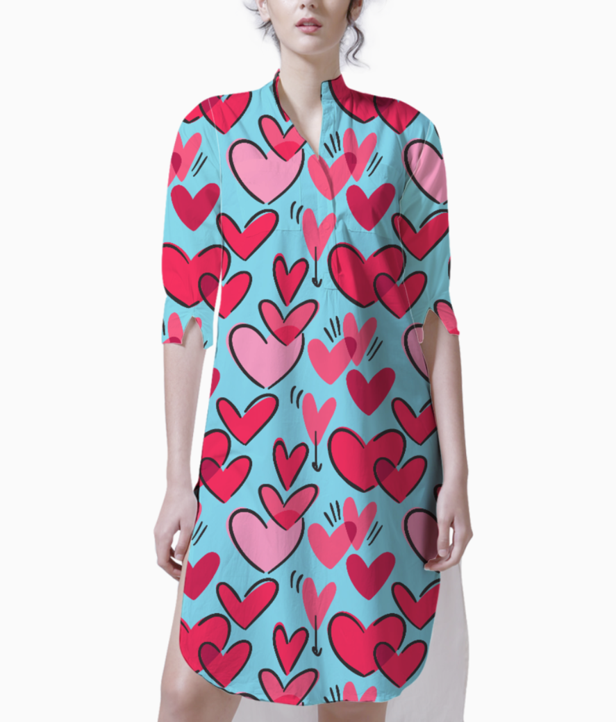 Red hearts kurti front