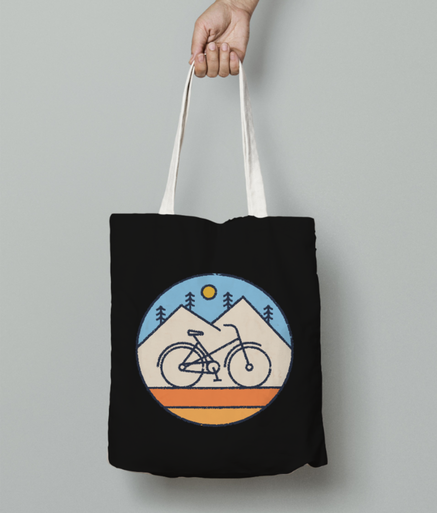 I love cycling tote bag front