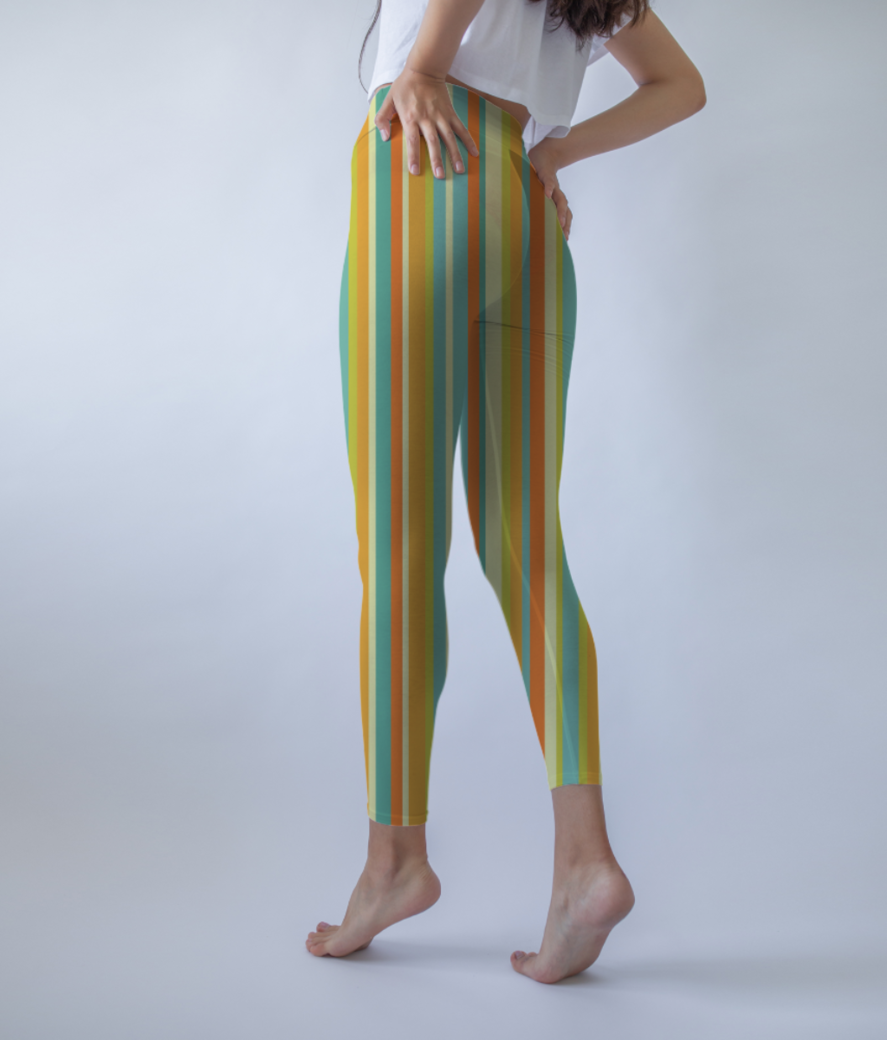Colourful stripes yellow leggings back