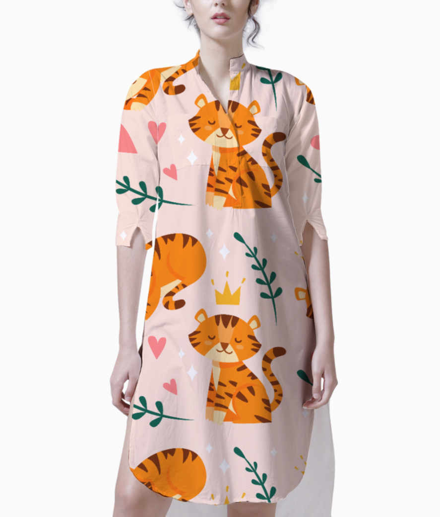 Cute tiger pattern kurti front