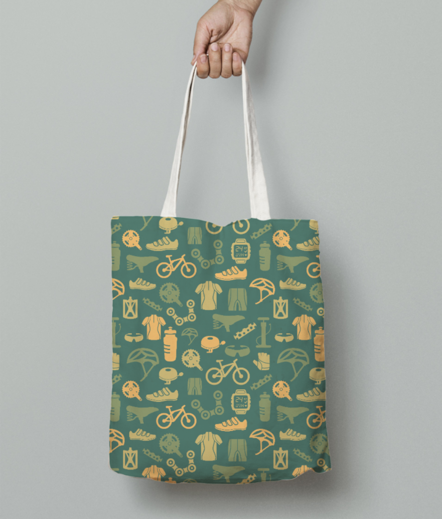 Cycling love tote bag front