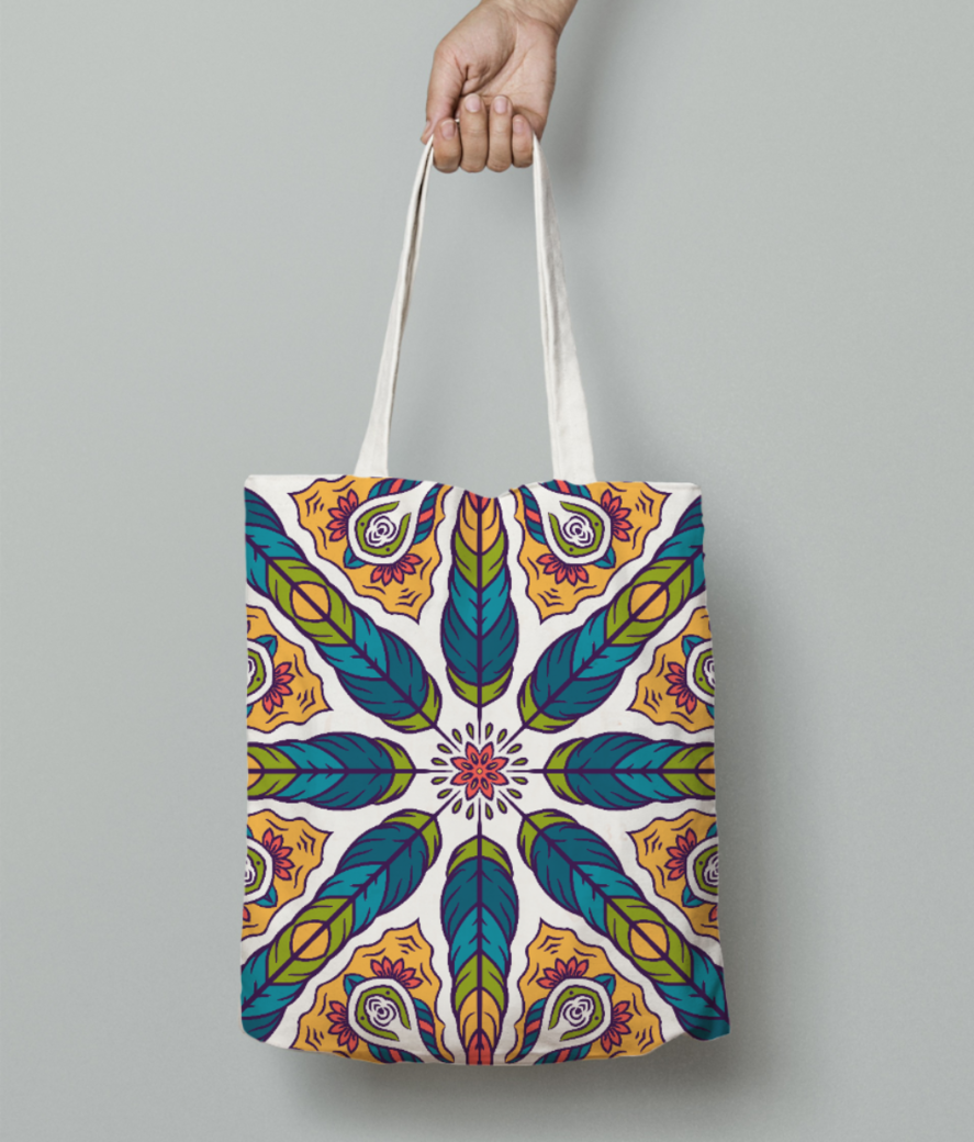 Feather pattern 1 tote bag front