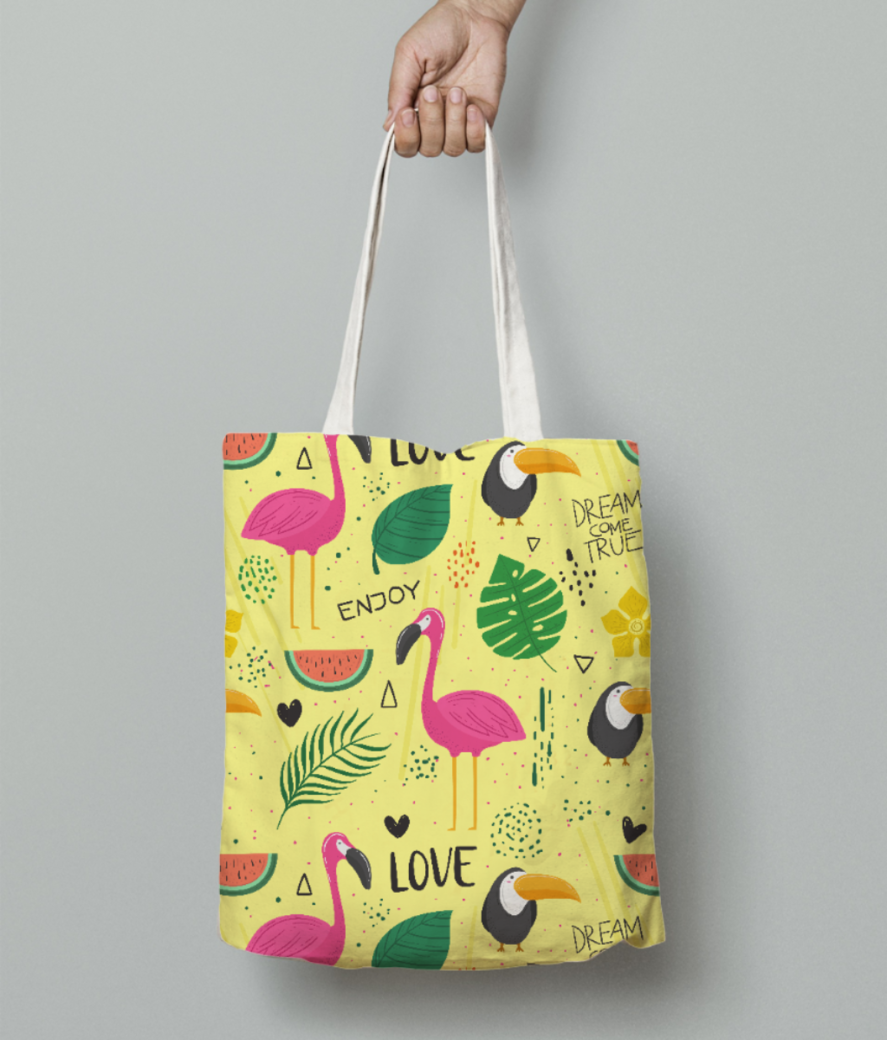 Flamingo pattern tote bag front