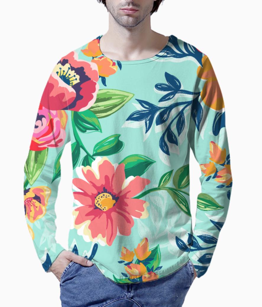 Floaral print henley front
