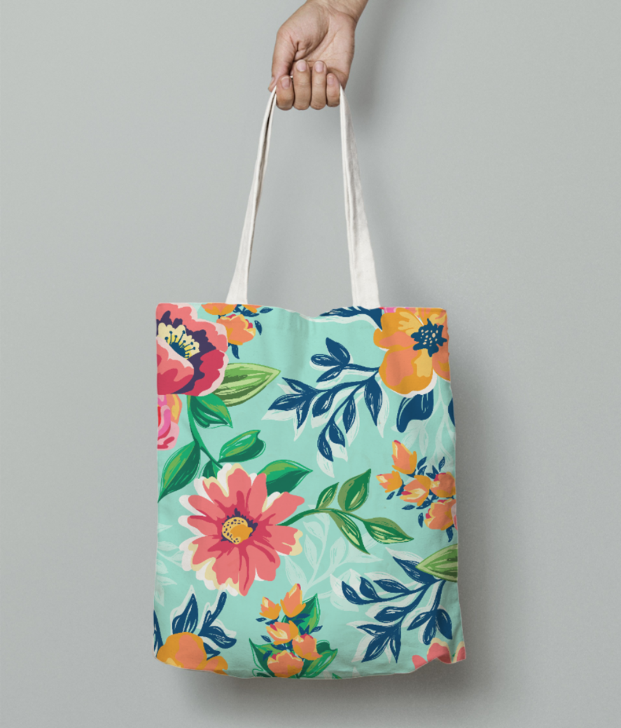 Floaral print tote bag front