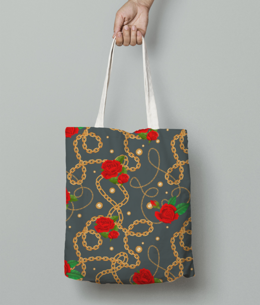Golden chain pattern rose flower 2 tote bag front