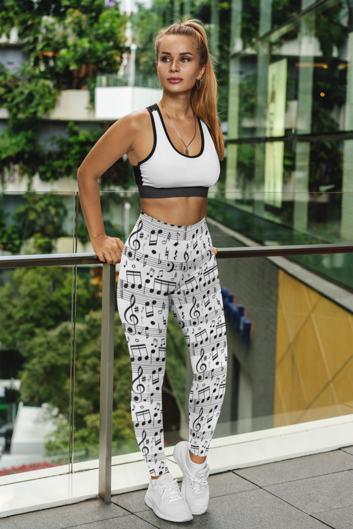 Mockup of a serious woman wearing sublimated leggings 3639 el1