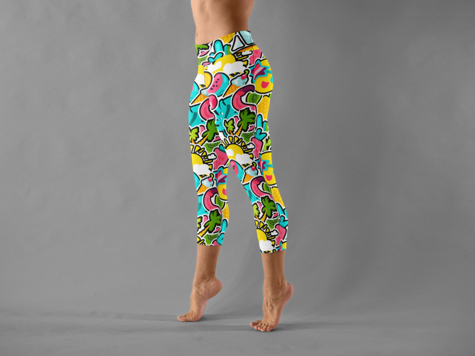 Leggings mockup featuring a woman tip toe walking at a studio 15397 %281%29