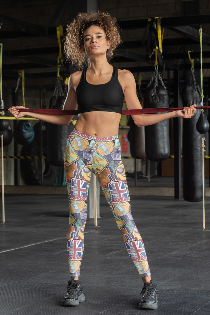 Sports bra and leggings mockup of a tough looking woman at a boxing gym 31363
