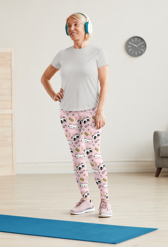 T shirt mockup of a woman with sublimated leggings ready to workout at home 37929 r el2