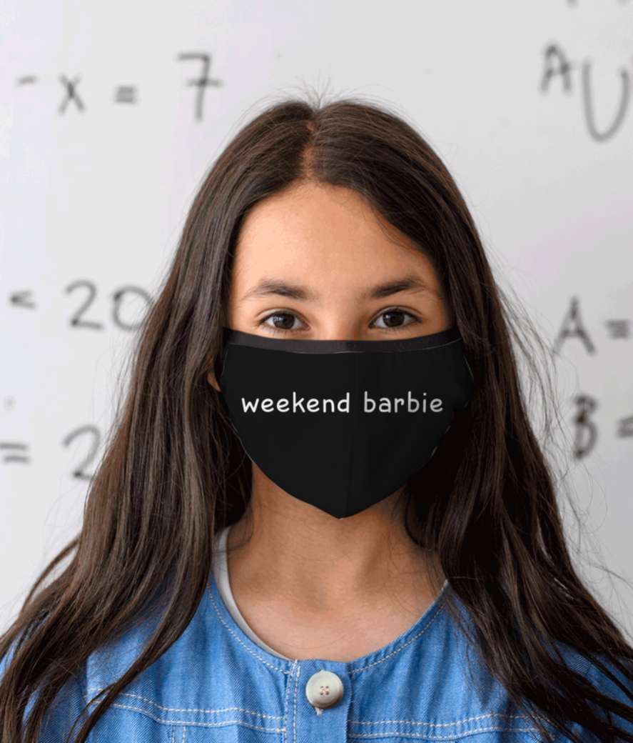 Weekend barbie white mask front