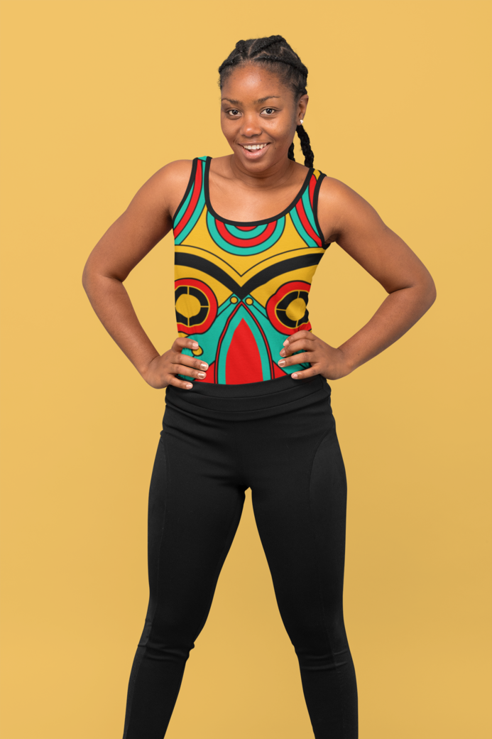 Mockup of a confident woman wearing a tank top at a studio 31139